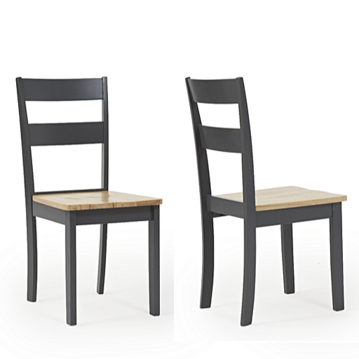 Chichester Oak & Dark Grey Painted Dining Chairs - Set Of 2