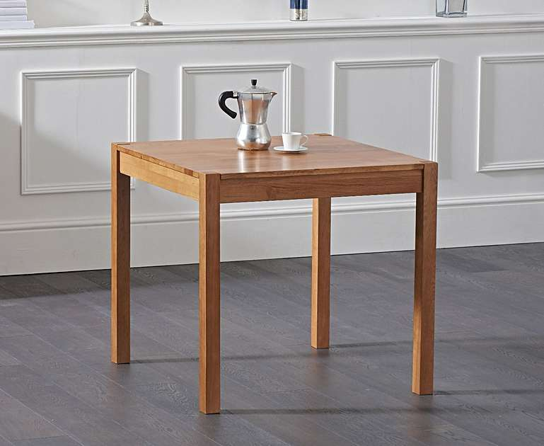 Maiya 80cm Square Solid Oak Dining Table & 2 Dining Chairs - The Furniture Mega Store