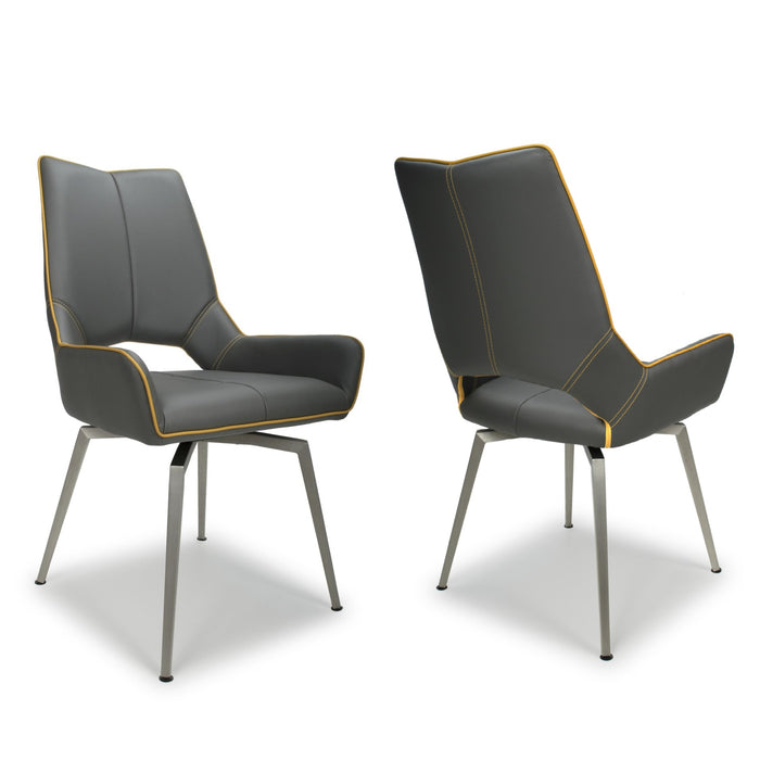 Graphite Grey - Yellow Stitch Swivel Leather Dining Chairs - Set Of 2
