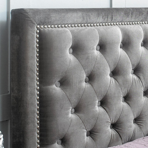Grove Buttoned 4'6 Double Bed - Silver Velvet - The Furniture Mega Store