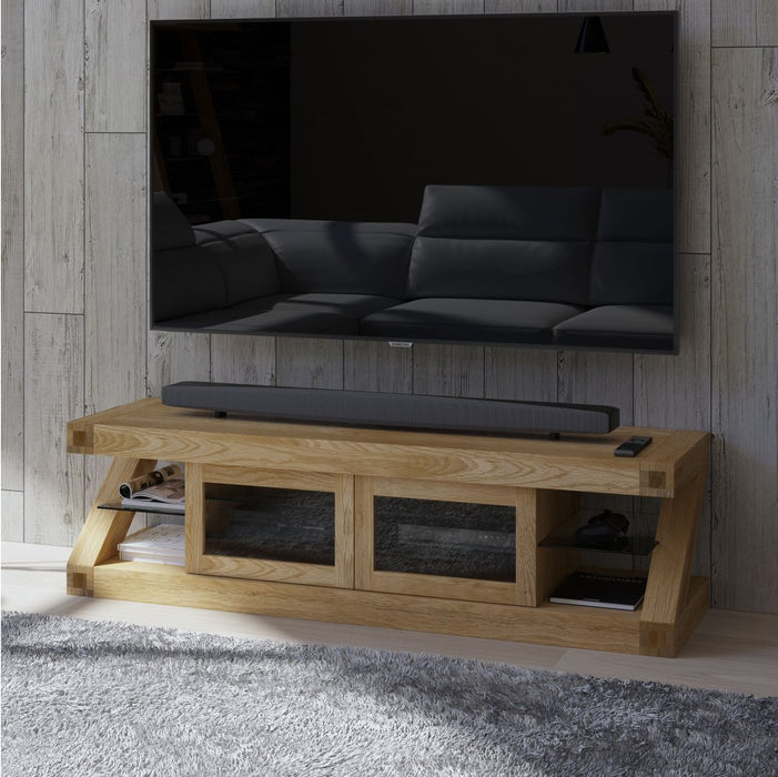 Solid Z Oak Designer Glazed Large TV Unit