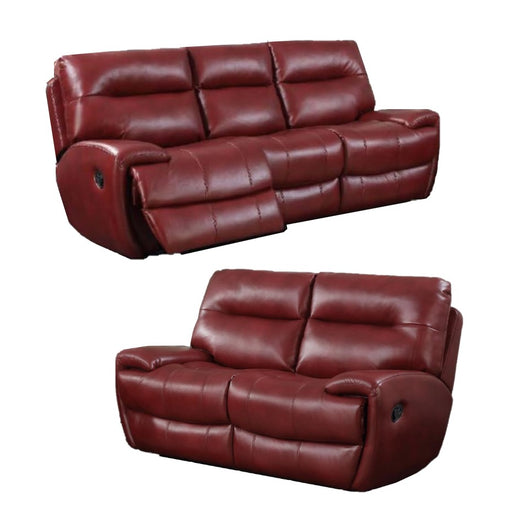 Vento Leather Recliner Sofa Set 3 + 2 Seater Red
