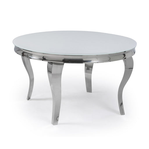 Mayfair Round White Glass Top Dining Table With Stainless Steel Curved Legs