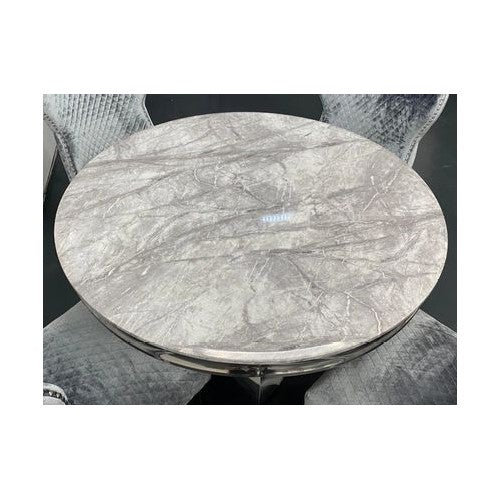 Mayfair Round Light Grey Marble Dining Table With Stainless Steel Curved Legs
