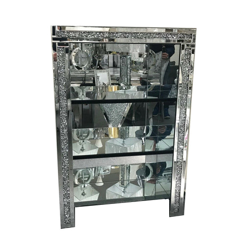 Crushed Diamond Mirrored 3 Tier Bookcase