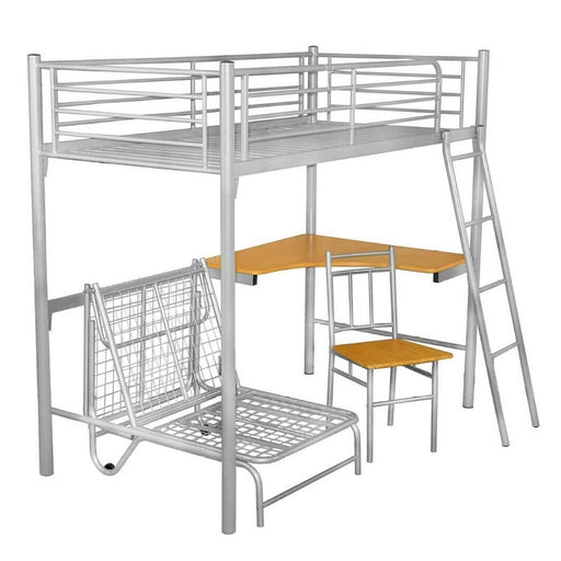Silver Study Bunk With Desk & Futon