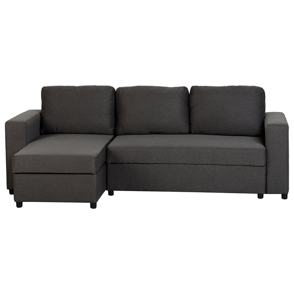 Lydia Chaise Sofa Bed in Dark Grey Fabric - Left Hand Facing