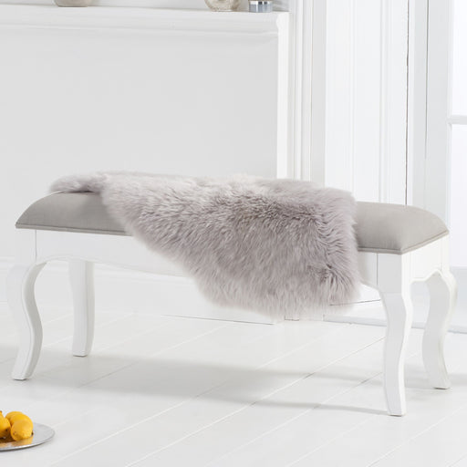 Sienna White Bench With Grey Padded Seat - 155cm - The Furniture Mega Store