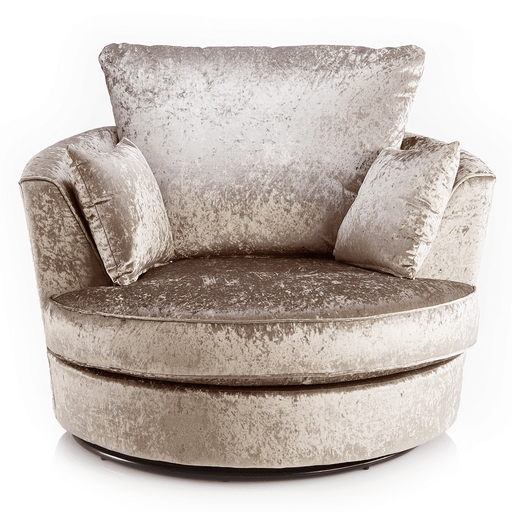 Delux Mink Crushed Velvet Swivel Chair - The Furniture Mega Store