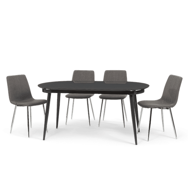 Extending Grey High Gloss Dining Set - Table & 4 Or 6 Fabric Dining Chairs