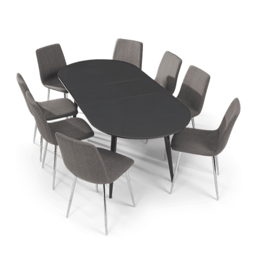 Extending Grey High Gloss Dining Set - Table & 4 Or 6 Fabric Dining Chairs - The Furniture Mega Store
