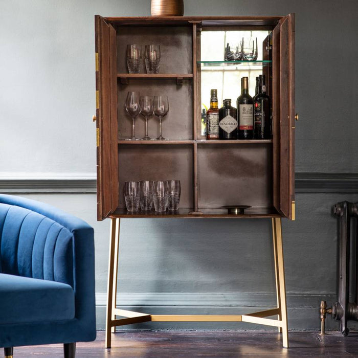 Tate Acacia Wood & Brass Cocktail Cabinet - The Furniture Mega Store