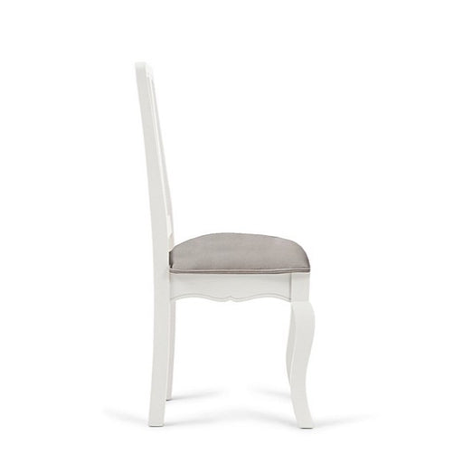 Sienna White Dining Chairs With Grey Padded Seat - Set Of 2 - The Furniture Mega Store