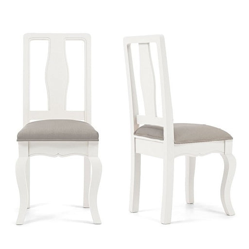 Sienna White Dining Chairs With Grey Padded Seat - Set Of 2