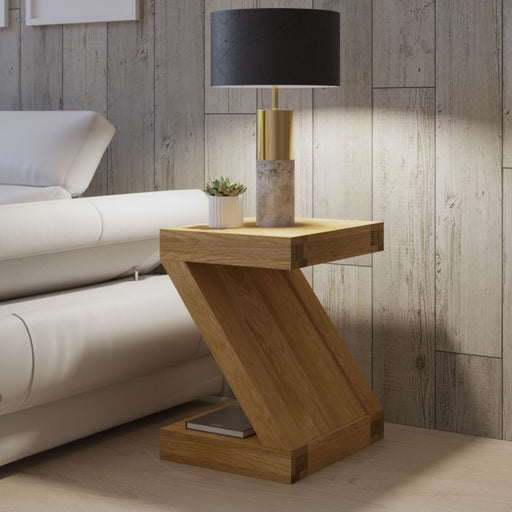 Z Solid Oak Lamp Table - The Furniture Mega Store