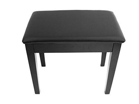 Prelude Black Piano Stool Fixed Height with Storage and Vinyl Top Polished Ebony - 1to1 Music