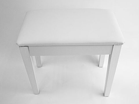 Prelude White Piano Stool Fixed Height with Storage and Black Vinyl Top Polished White - 1to1 Music