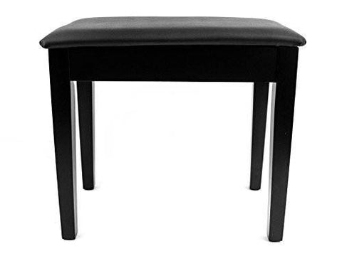 Prelude Black Piano Stool Fixed Height with Storage and Black Vinyl Top Satin Black - 1to1 Music