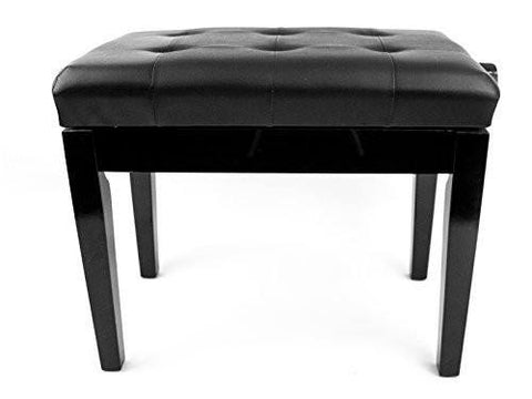 Sonata Black Piano Stool Adjustable with Black Vinyl Button Top Polished Ebony - 1to1 Music