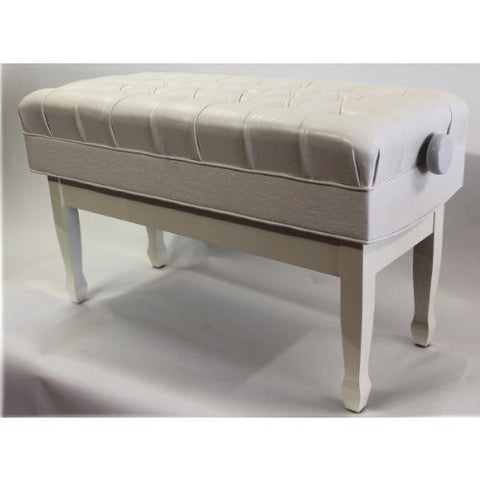 Concerto Real Leather Deep Cushioned Polished White Piano Bench - 1to1 Music