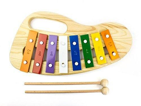 ProKussion Children's Toy 8 Key Wooden Colourful Xylophone with Beaters - 1to1 Music