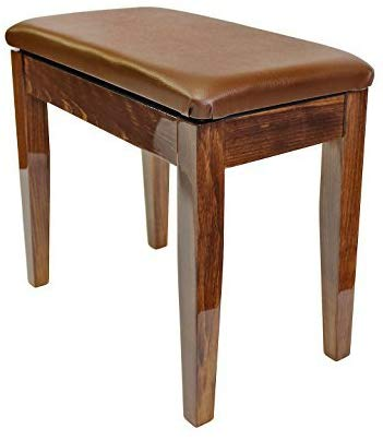 Dolce Piano Stool with Book Storage - Polished Mahogany - 1to1 Music