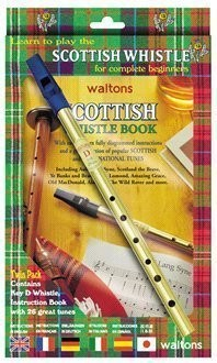 Waltons Scottish Tin Whistle Twin Pack - Tutor Book + D whistle - 1to1 Music