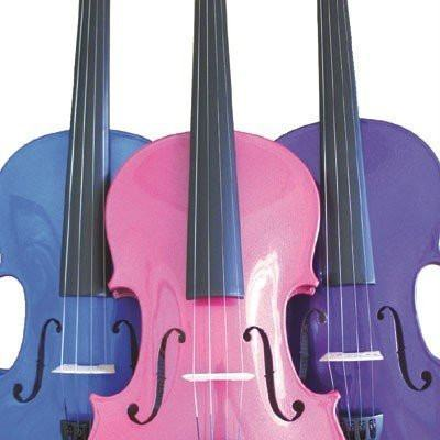 Rainbow Fantasia Coloured Student Violin Outfit, SIZE 4/4, Blue - 1to1 Music