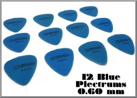 12 Blue NYLON PLECTRUMS Light/Thin GAUGE 0.60 MM PICKS Plecs - 1to1 Music