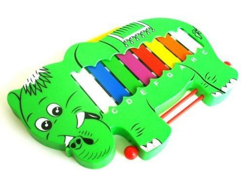 ProKussion GrElepV Green Elephant Design Toy Musical Instrument Xylophone Glockenspiel with Beaters - 1to1 Music