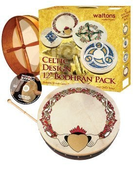 "WALTONS PACK 12"" CLADDAGH IRISH BODHRAN - GIFT SET - 1to1 Music"