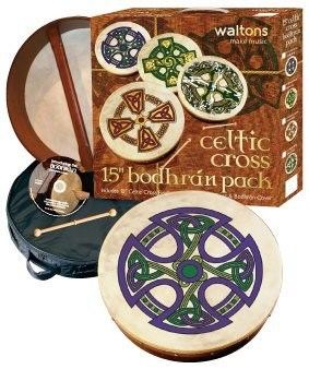 "WALTONS PACK 18"" FANORE CROSS Irish Bodhran - Gift Set - 1to1 Music"