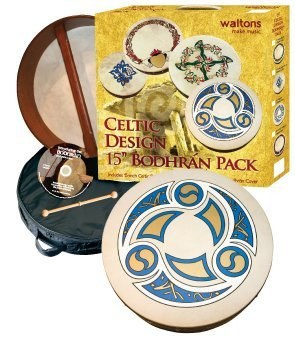 "Waltons 15"" Trinity Design Bodhran Pack Gift Set - 1to1 Music"