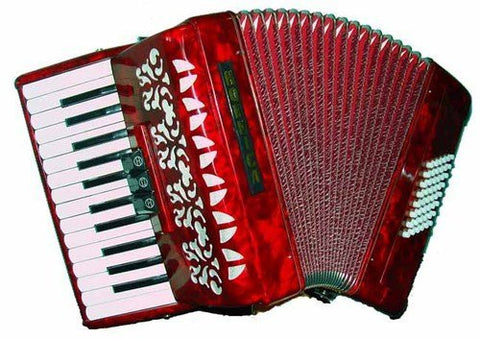 "Hohner Hohnica Tremolo Piano Accordion, Includes: FREE 12"" x 16"" Vintage Hohner Metal Sign, 48 Bass 26 Keys, Red Pearl 2352"