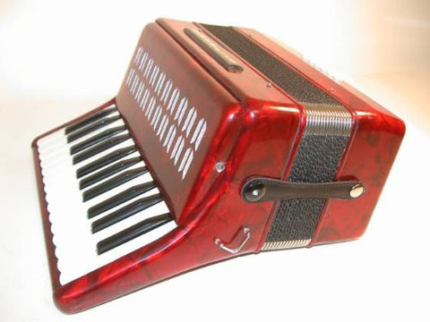 "Hohner Hohnica Piano Accordion 1302, Includes FREE 12"" x 16"" Vintage Hohner Metal Sign #2, Red, 25 Keys 12 Bass Buttons, Case & Straps - 1to1 Music"
