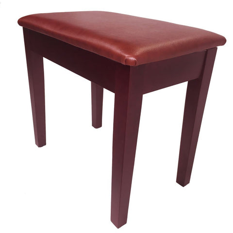 Prelude Satin Mahogany Piano Stool - Fixed Height with Storage and Tan Vinyl Top - 1to1 Music