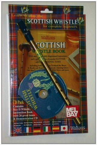 Waltons Scottish Tin Penny Whistle CD Pack - Book, CD and D Whistle - 1to1 Music