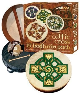 "Waltons 15"" Gallen Cross Bodhran Pack Gift Set - 1to1 Music"