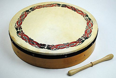 "16"" Diameter Celtic Pattern Bodhran - Irish Drum Starter Pack with Tipper & Carry Case - 1to1 Music"