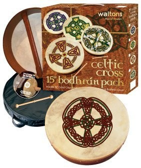 "WALTONS PACK 15"" KNOTWORK CROSS Irish Bodhran - Gift Set - 1to1 Music"