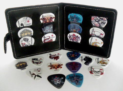 Guitar Pick Wallet + 12 Celluloid Picks/Plectrums (Random sets of Colours/Designs - 3 each of 4 thicknesses) - 1to1 Music