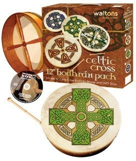 "Waltons 12"" CLOGHAN Cross Design Bodhran Pack Gift Set - 1to1 Music"