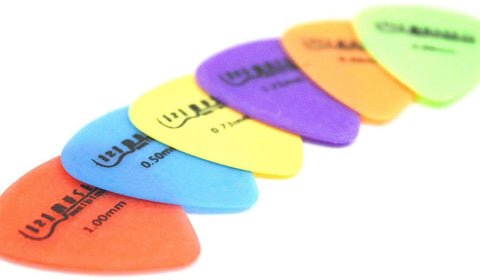 6 Electric Acoustic Bass Guitar Picks Plectrums - Multiple Gauges