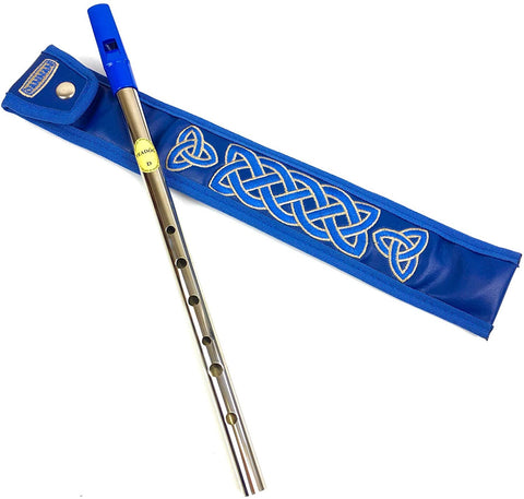 Blue Tin Whistle in key of D by Feadog with Handmade Irish Whistle Case/Sleeve by Dannan in Blue Vegan Leather with Celtic Embroidery