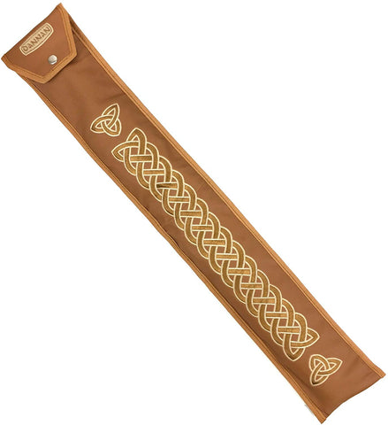 "Low D Flute Whistle Case/Sleeve by Dannan in Brown Vegan Leather with Traditional Celtic Embroidery 4""x 24"""
