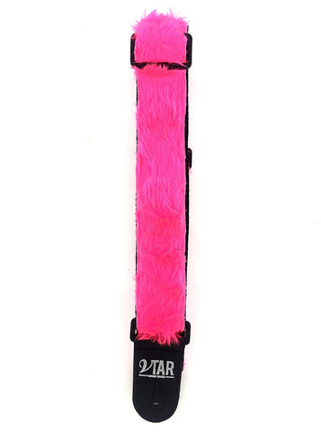 Vtar Vegan LeatherGraft Pink Fluffy Guitar Strap - 1to1 Music