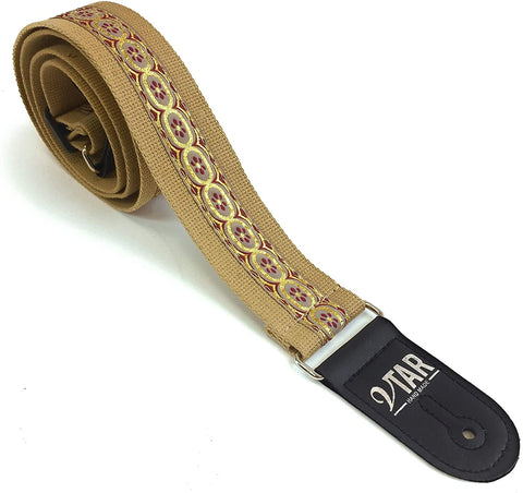 Handmade Bohemian Folk Floral 60's 70's Inspired Guitar Strap by VTAR, Made with Vegan Leather. For Acoustic, Bass and Electric (Beige Hemp Folk)