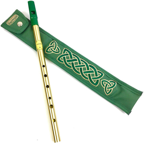 Green Tin Whistle in Key of D by Feadog with Handmade Irish Whistle Case/Sleeve by Dannan in Green Vegan Leather with Celtic Embroidery