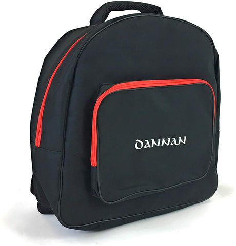 "Deluxe Dannan Padded Bodhran Case Bag with Shoulder Straps and Storage Pocket 16"" (BLACK) - 1to1 Music"