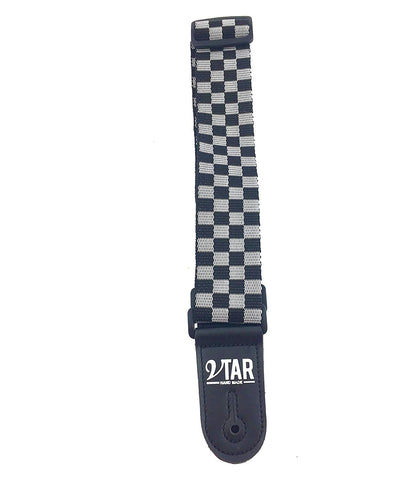 Vtar Vegan Checkered Q-Release Guitar Strap ELECTRIC ACOUSTIC BASS + 6 Picks - 1to1 Music